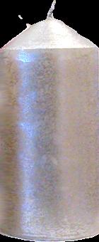 Svíčka válec střední široký stříbrná